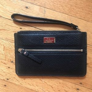 Kate Spade wristlet (black leather)